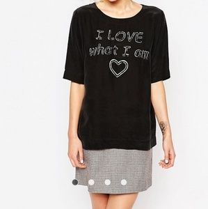 Love Moschino Silk Blend 'I LOVE what I am' top